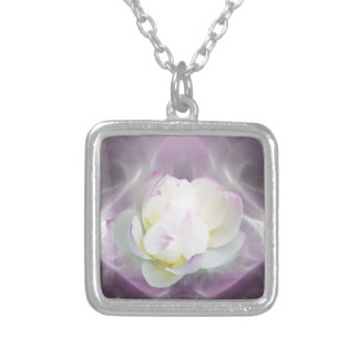 White lotus flower silver plated necklace