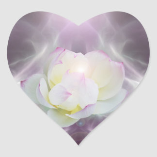 White lotus flower heart sticker