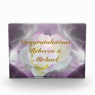 White lotus flower wedding congratulations acrylic award