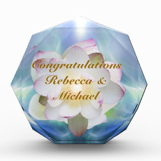 White lotus flower wedding congratulations award