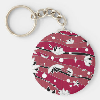 White Lotus Flowers on Red Stripes Keychain