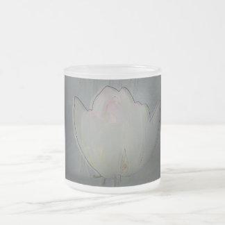 White lotus frosted mug