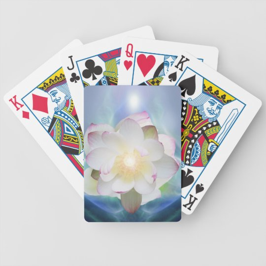 White lotus in blue crystal bicycle playing cards