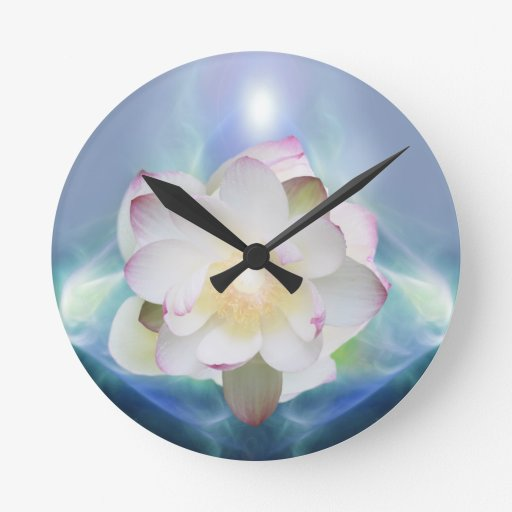 White lotus in blue crystal clock