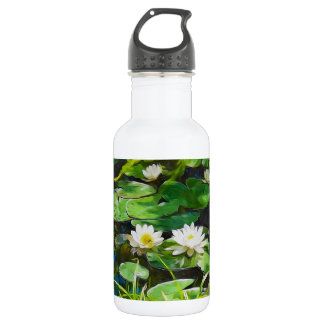 White Lotus In The Pond Stainless Steel Water Bottle