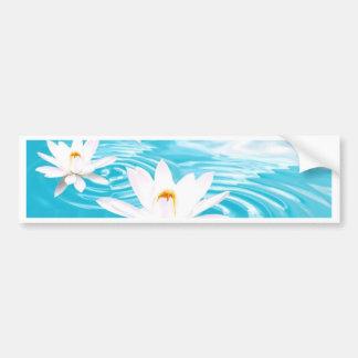 White Lotus plants floating on turquoise water zen Car Bumper Sticker