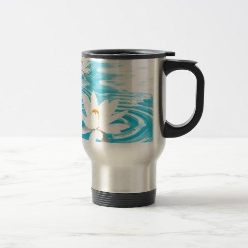 White Lotus plants floating on turquoise water zen Coffee Mug