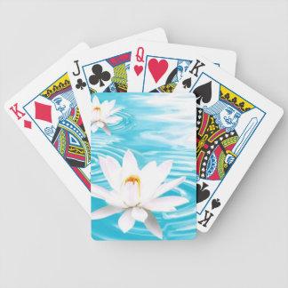 White Lotus plants floating on turquoise water zen Bicycle Card Decks