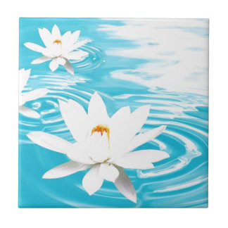 White Lotus plants floating on turquoise water zen Small Square Tile
