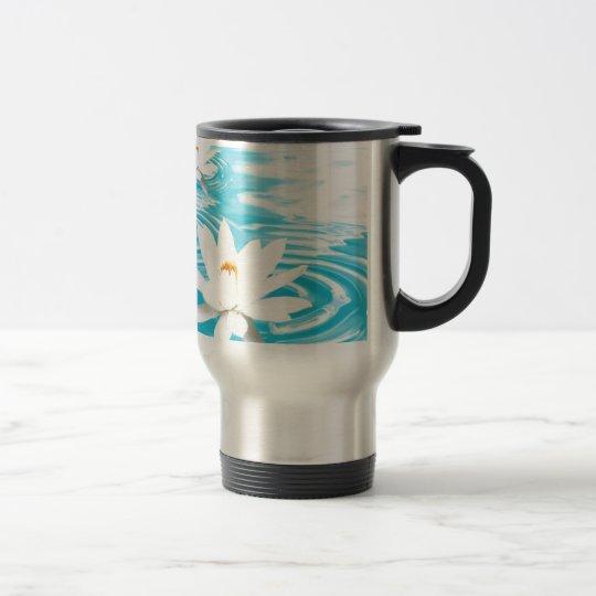 White Lotus plants floating on turquoise water zen Travel Mug