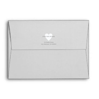 white love heart with couple names + address, gray envelope