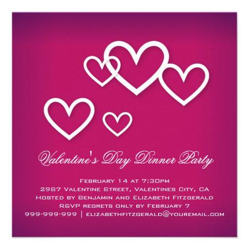 White Love Hearts on Dark Pink Valentines Party Invites