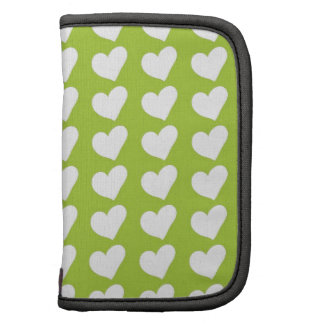 White Love Hearts on Lime Green Folio Planners