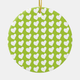 White Love Hearts on Lime Green Christmas Ornaments