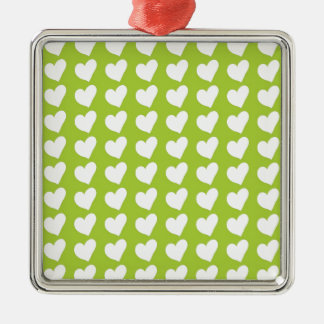 White Love Hearts on Lime Green Christmas Ornament