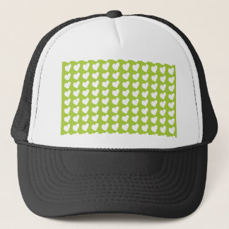 White Love Hearts on Lime Green Trucker Hat