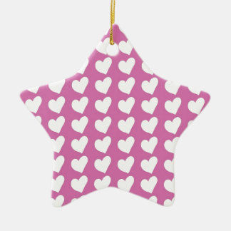 White Love Hearts on Mid Pink Christmas Ornaments