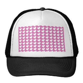 White Love Hearts on Mid Pink Trucker Hat