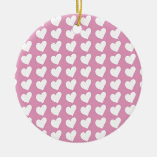 White Love Hearts on Pale Baby Pink Ceramic Ornament