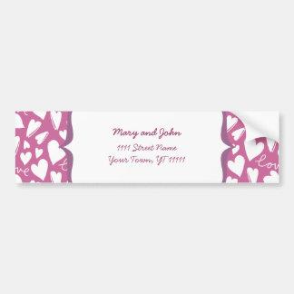 white love & hearts on pink bumper sticker