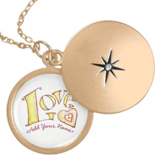 White Love Word with Heart Gold Locket
