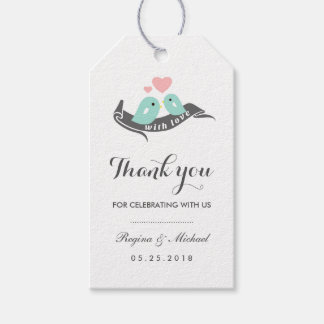 White Lovebirds with Small Heart Wedding Gift Tag