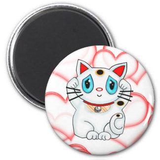 White Lucky Beckoning Cat Maneki Neko 2 Inch Round Magnet