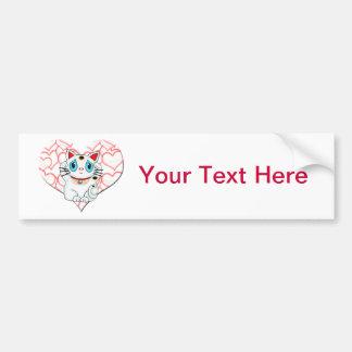 White Lucky Beckoning Cat Maneki Neko Car Bumper Sticker