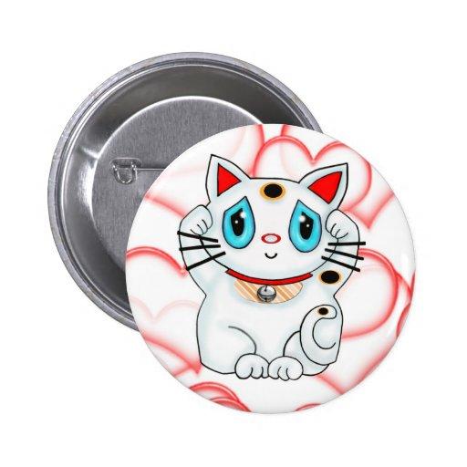 White Lucky Beckoning Cat Maneki Neko Pin