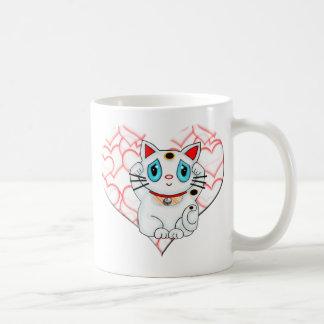 White Lucky Beckoning Cat Maneki Neko Coffee Mugs