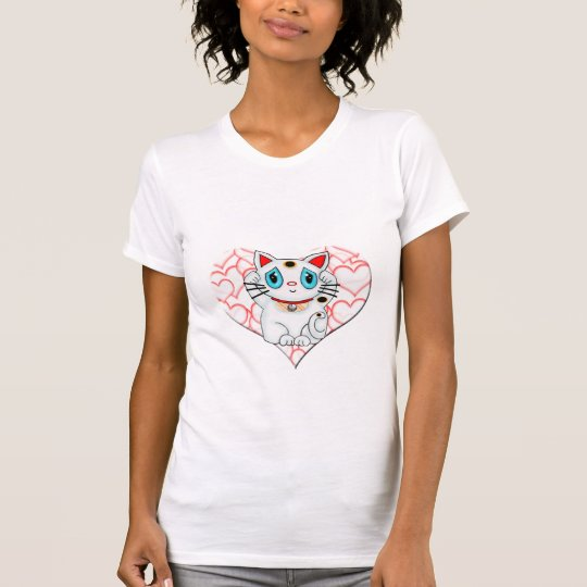 White Lucky Beckoning Cat Maneki Neko T-Shirt