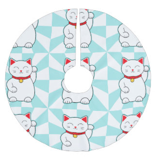 White Lucky Cat Brushed Polyester Tree Skirt