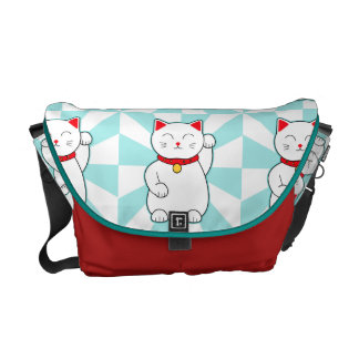 White Lucky Cat Courier Bag
