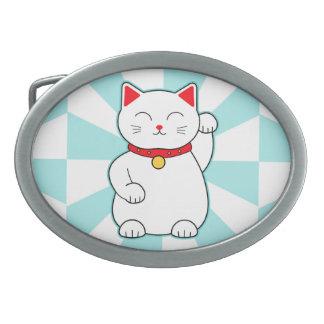 White Lucky Cat Oval Belt Buckle