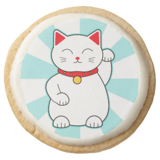 White Lucky Cat Round Shortbread Cookie