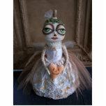 White Lumina Pumpkin Bride Photo Sculpture Pin