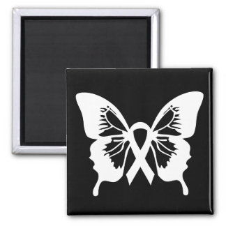 White Lung Cancer Butterfly square magnet