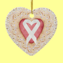 White Lung Cancer Ribbon #2 From the Heart - SRF Ceramic Ornament