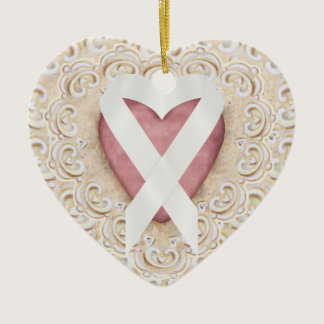 White Lung Cancer Ribbon From the Heart - SRF Ceramic Ornament