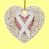 White Lung Cancer Ribbon From the Heart - SRF Double-Sided Heart Ceramic Christmas Ornament