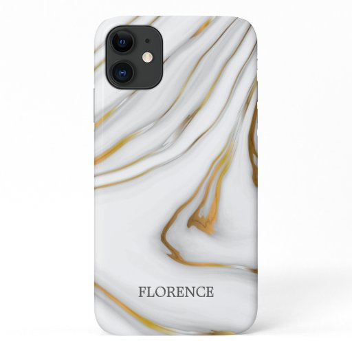 White Mable And Gray And Gold Grain iPhone 11 Case