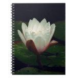 White Macro Lotus Flower Spiral Notebook