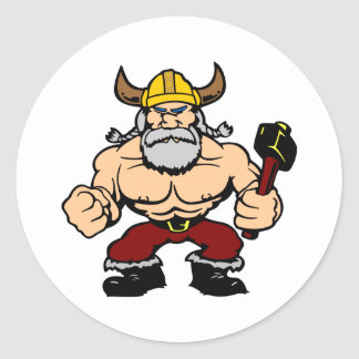 White Mad Viking Classic Round Sticker