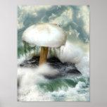White Magic Mushroom Poster