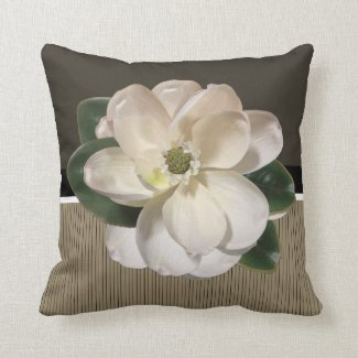 White Magnolia accent Brown and Tan Pillow