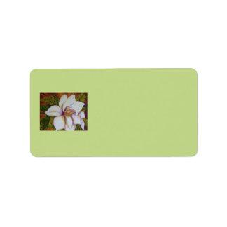White Magnolia Address Label