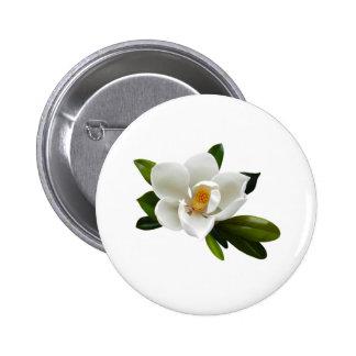 white magnolia bloom pinback button