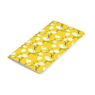 White Magnolia Blossoms on GOLD Background Journals
