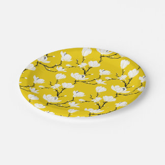 White Magnolia Blossoms on GOLD Background Paper Plate