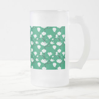 White Magnolia Blossoms on GREEN Background Frosted Glass Beer Mug